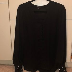 Express black blouse with pearl sleeve details